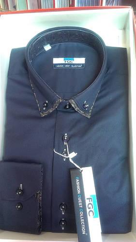 Стильная Мужская рубашка FGC приталенная спортивная solal синяя
