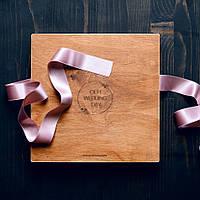 Деревянный футляр квадратный для свадебных фотографий с флешкой на магнитах 210*150*18