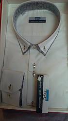 Стильная Мужская рубашка FGC приталенная спортивная айвори
