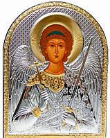 """Икона """"Ангел Хранитель"""" серебряная в кожаной оправе 165х215мм"""