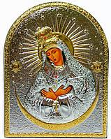 """Икона """"Острабрамская Божья Матерь"""" серебряная в кожаной оправе 165х215мм"""