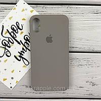 Чехол накладка для iPhone X Silicone case светло серый