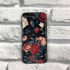 Чехол накладка на iPhone 7/8 White Knight Pictures Glass розы черный
