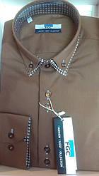 Стильная Мужская рубашка FGC приталенная спортивная шоколад