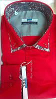 Мужская рубашка FGC приталенная спортивная комбинированная красная