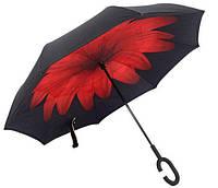 Ветрозащитный зонт обратного сложения UP-brella, АП брелла зонт с ветрозащитой умный зонт.Акция!Красный цветок