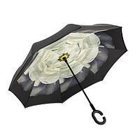 Ветрозащитный зонт обратного сложения UP-brella, АП брелла зонт с ветрозащитой умный зонт. Акция! Белый цветок