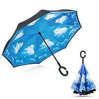 Ветрозащитный зонт обратного сложения UP-brella, АП брелла зонт с ветрозащитой умный зонт. Небо с облаками