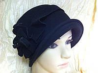 Шляпа из кашемира  с мягкими полями и воланами