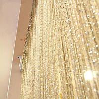 Нитяные шторы кисея Дождь шампань (13)