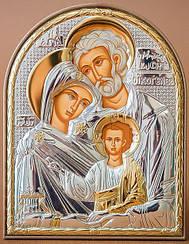 """Икона серебряная """"Святая Семья"""" на пластиковой основе 120х155мм ( Греция )"""