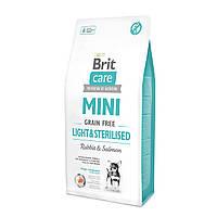 Brit Care Grain Free Mini Light & Sterilised Беззерновой для стерилізованих собак кролик/лосось 7кг