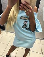 Платье Котон Короткое Рукав-Волан Голубое Paparazzi