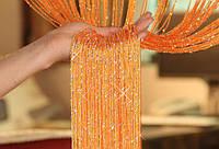 Шторы нитяные кисея  Дождь оранжевые, фото 1