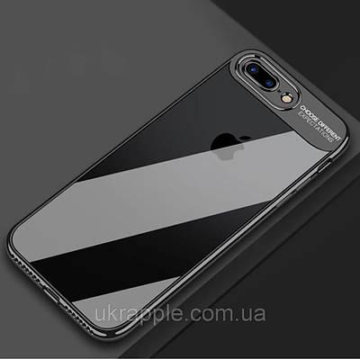 ЧехолнакладканаiPhone6 plus/6splusпрозрачныйпластик+силиконсчернымверхом