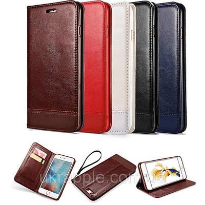 Чехол книжка на iPhone 7/8 экокожа с накладкой из плотного силикона, коричневый