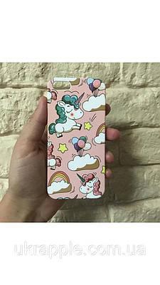 ЧехолнакладканаiPhone6 plus/6splusрозовыйсединорогами