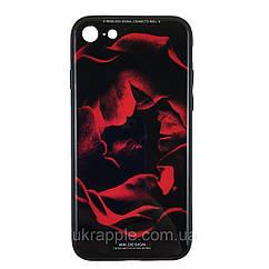 Чехол наклака для iPhone 7/8 White Knight Pictures Glass красная роза