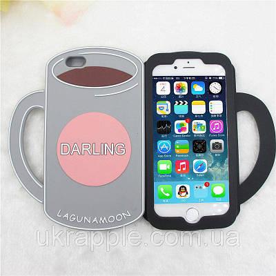 Чехол накладка на iPhone 6/6s 3D чашка кофе серо-розовый, силикон