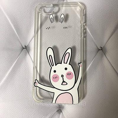Чехол накладка на iPhone 5/5s/se силиконовый с принтом кролик