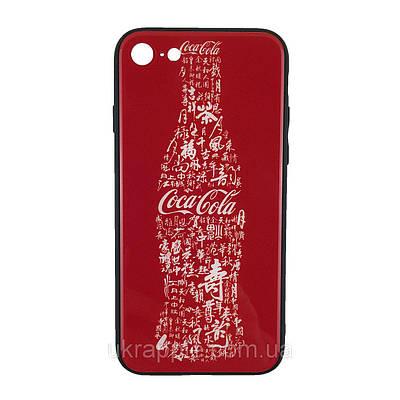 Чехол накладка для iPhone 7/8 White Knight Pictures Glass кока-кола