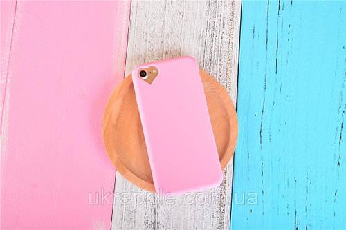 ЧехолнакладканаiPhone6 plus/6sPlusсветло-розовыйсвырезомподсердце, плотныйсиликон