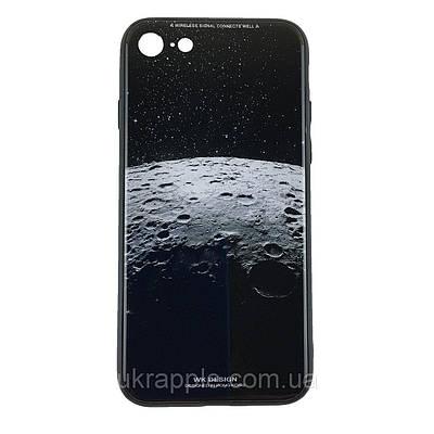 Чехол накладка для iPhone 7/8 White Knight Pictures Glass кратер луны