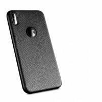 Чехол накладка на iPhone X под кожу из плотного силикона, черный