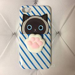 Чехол накладка на iPhone 7/8 Squishy Case синий кот