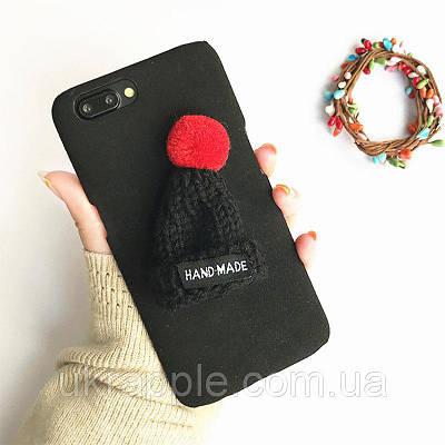 ЧехолнакладканаiPhone7 Plus/8plusплюшевыйчерныйсчернойшапочкой,плотныйсиликон