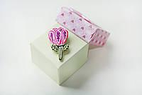 Брошь керамическая авторский дизайн ручная роспись цветок розовый