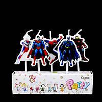 """Свеча в торт """"Супер - герои"""" 5 шт. Человек паук, Трансформер, Бетман, Железный человек, Супермен."""