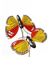 Декоративные Бабочки Желтые деревянные на палочке 9.5x7 см 2 шт/уп