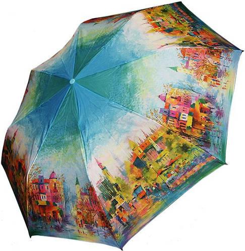 Оригинальный, яркий женский зонт, полуавтомат ZEST Z246655-01 Антиветер!