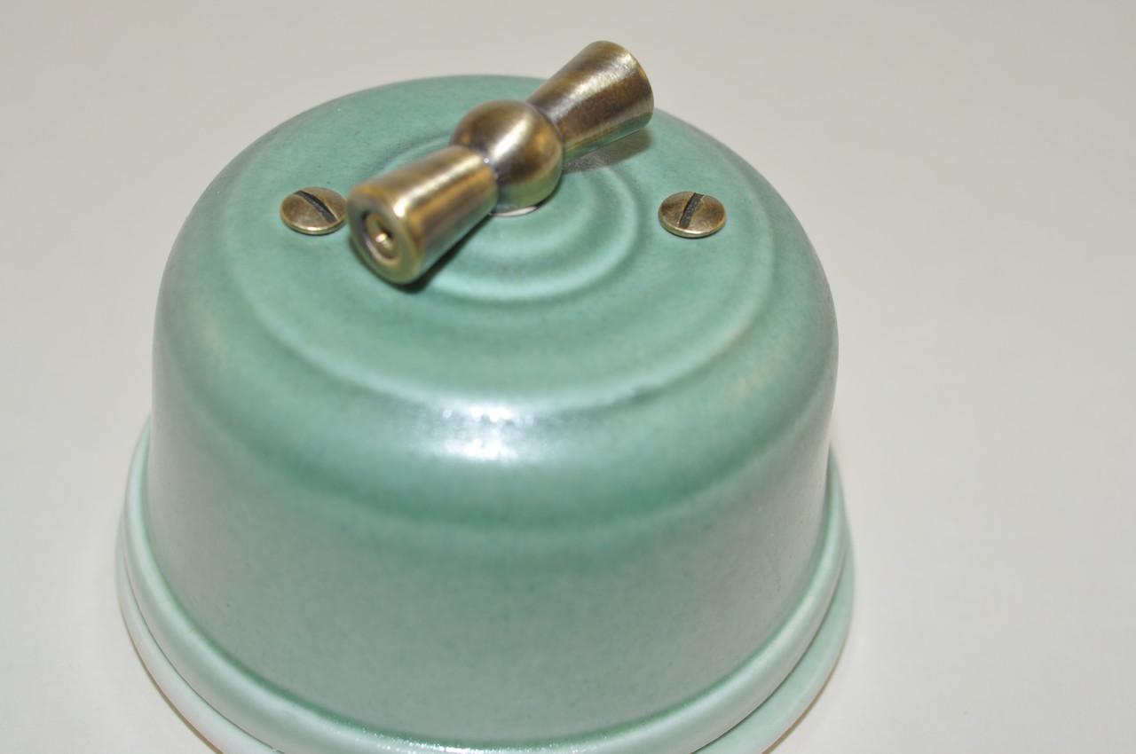 Вимикач поворотного типу 1-клавішний, проходой, бірюза
