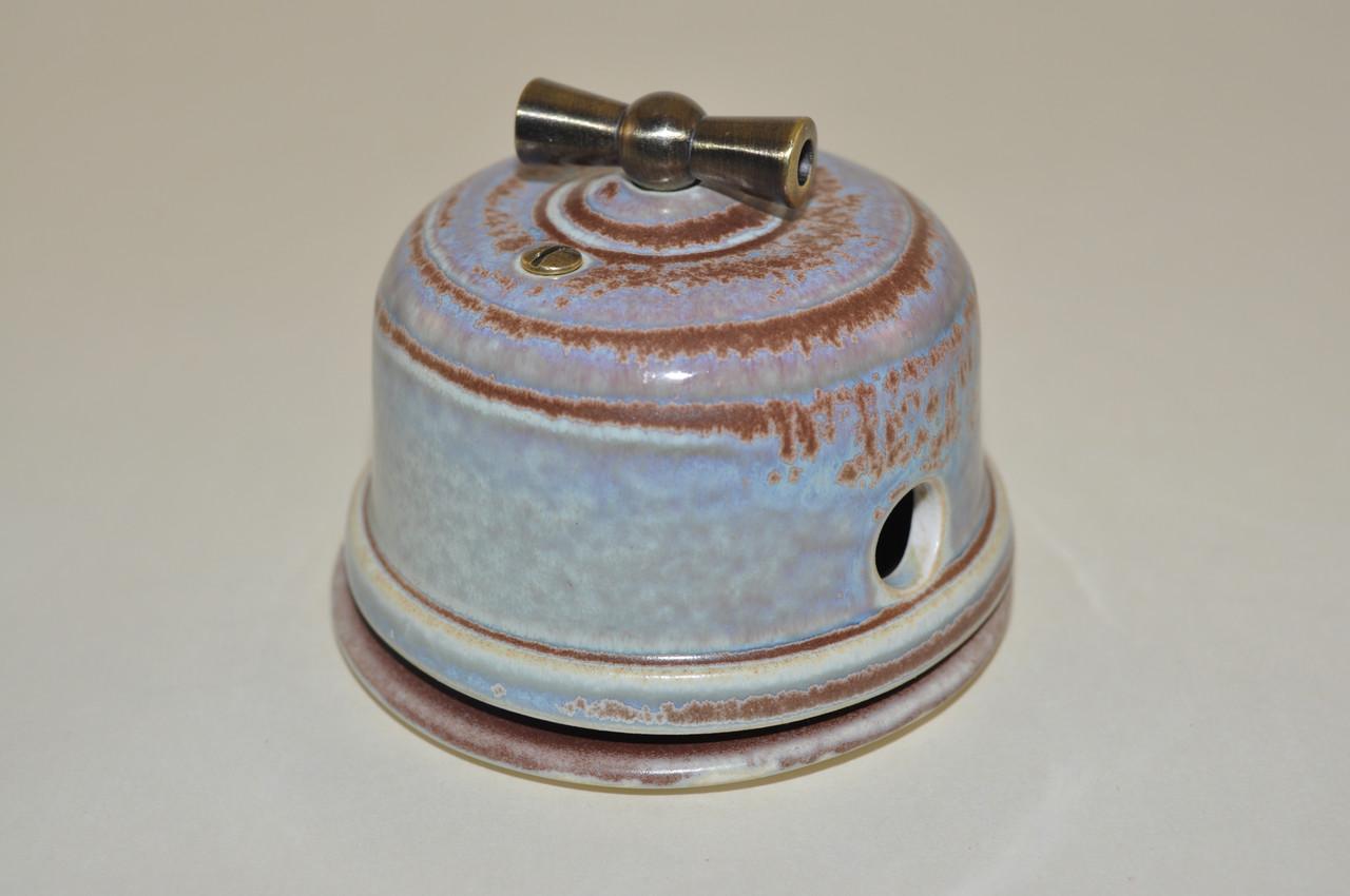 Вимикач поворотного типу перехресний, прохідний, золотисто-рожевий