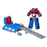 Трансформеры 38 см гоночный комплект Playskool Heroes Transformers Optimus Prime Race Track Trailer Playset