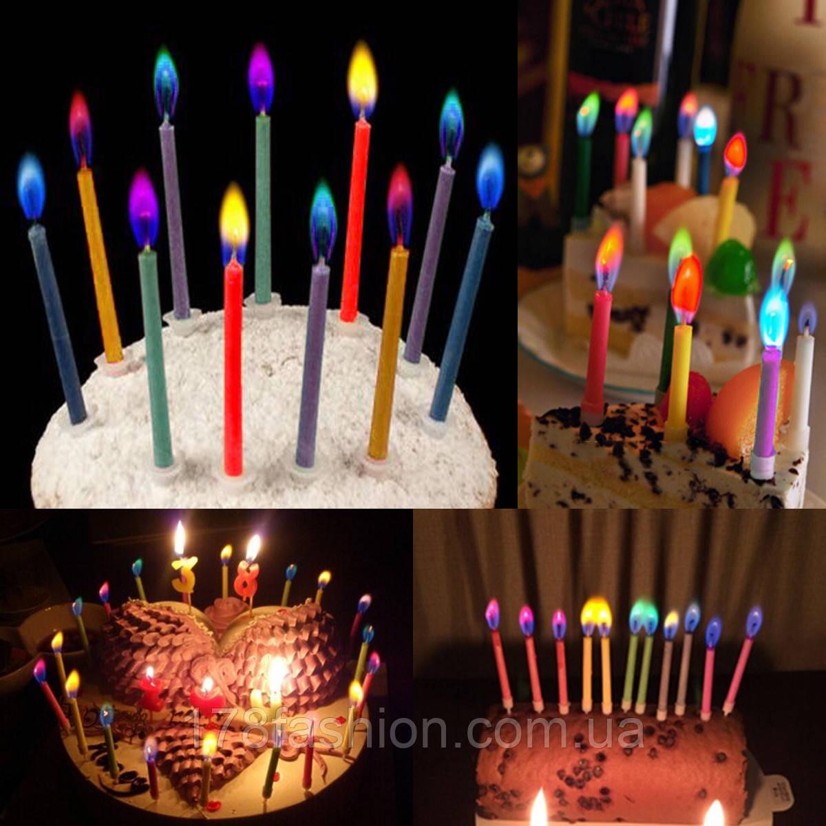 Набор праздничных свечей для торта из 5 штук с цветным пламенем