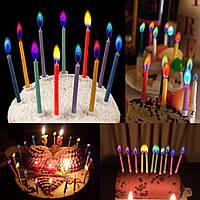 Набор праздничных свечей для торта из 6 штук с цветным пламенем