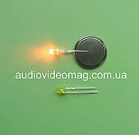 Светодиод 3V 3 мм, диффузный, цвет желтый