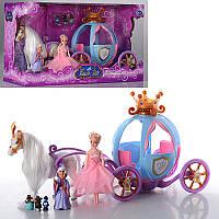 Кукла с каретой и лошадью 205A (лошадь ходит, на батарейках)