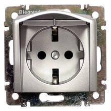 Розетка (2К+3) с крышкой 16А Алюминий 770122 Legrand Valena