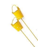 Декоративное мини ведро кашпо на палочке Желтое в горох 1 шт