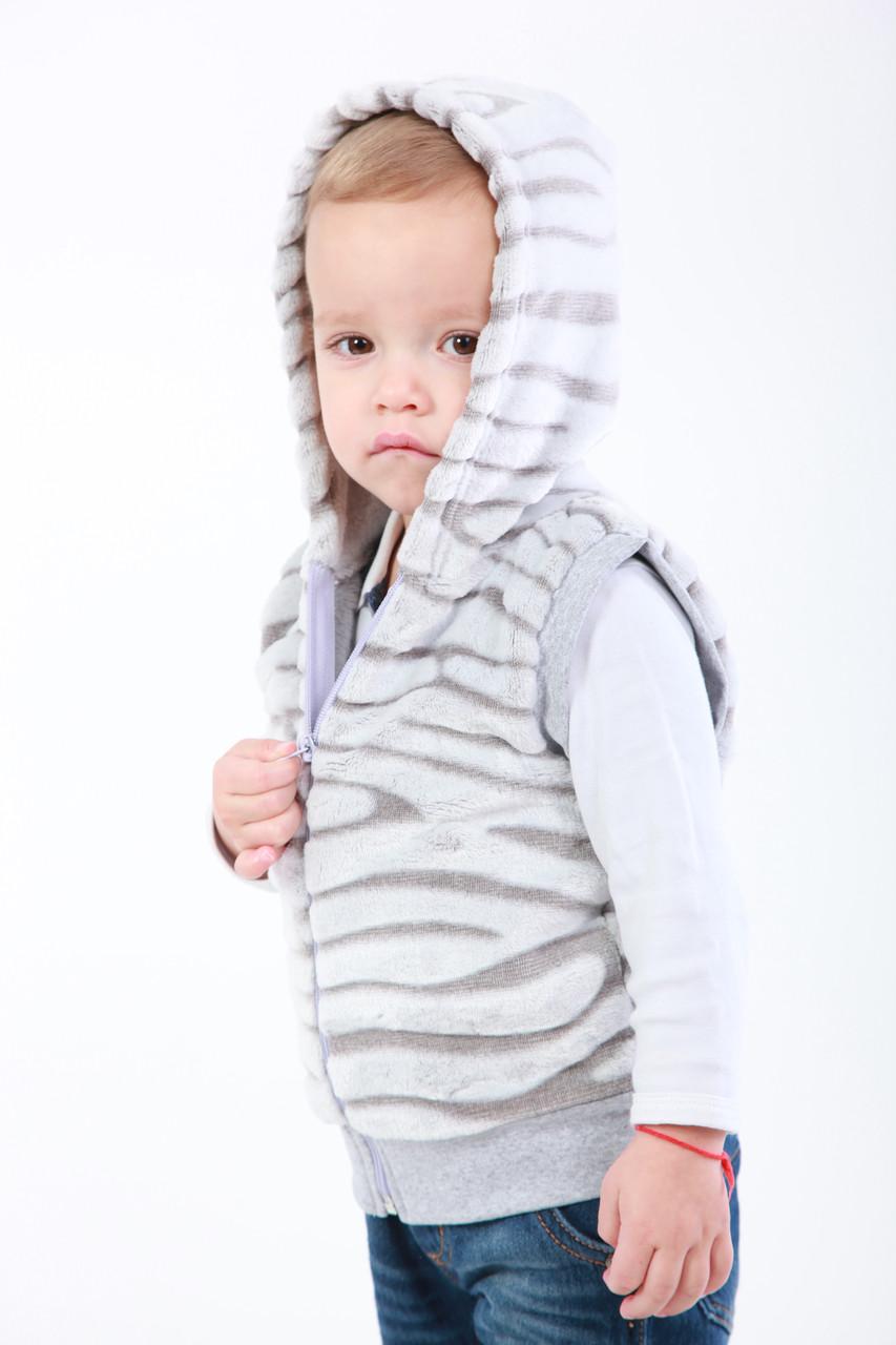 Жилетка махровая детская с капюшоном