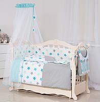 Детская постель Twins Stars 3D 9 эл S-001 blue