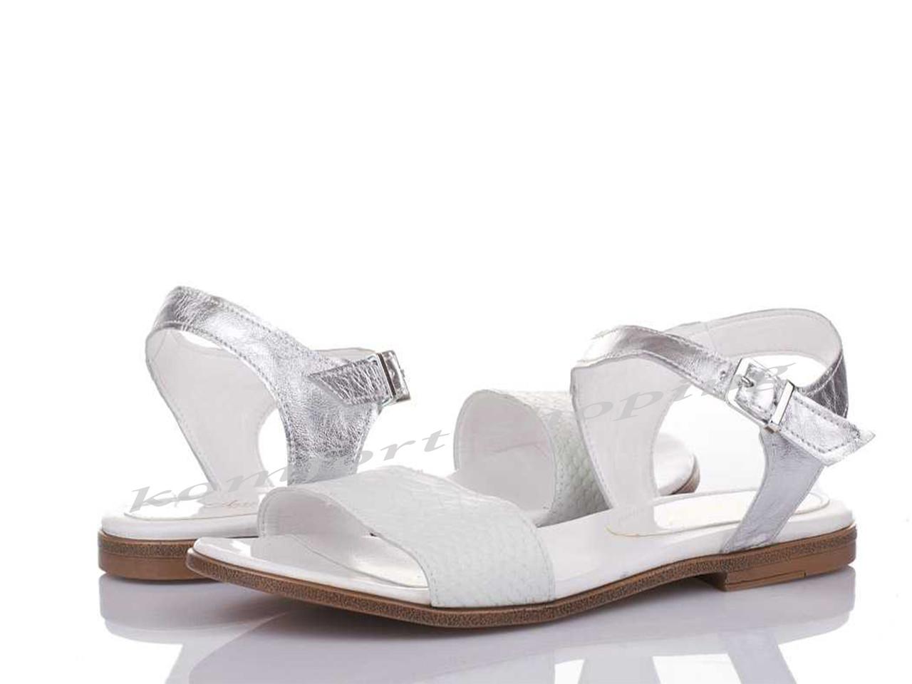 Женские босоножки кожаные, белые+серебро V 1107