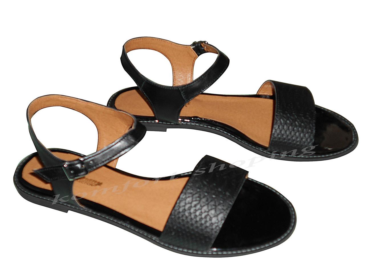 Женские босоножки кожаные, черные V 1107