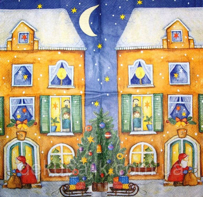 Редкая декупажная салфетка Дед Мороз разносит подарки 3819