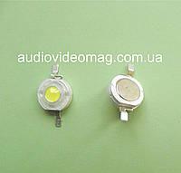 Светодиод мощный 3V 1Wt, цвет - белый холодный (6000-6500К)