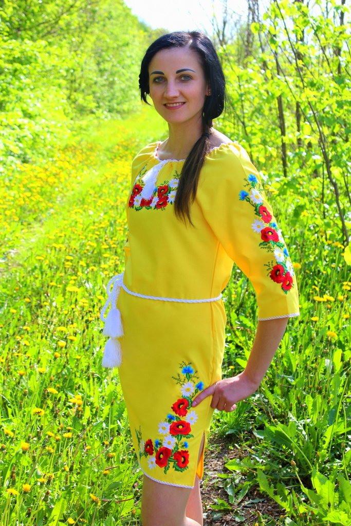 """Еффектное вышитое женское платье """"Марися"""" , желтое"""